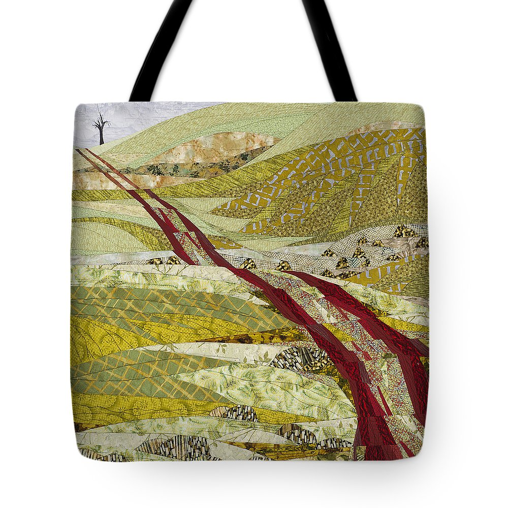 Landscape Tote Bag featuring the tapestry - textile Landmarks by Linda Beach