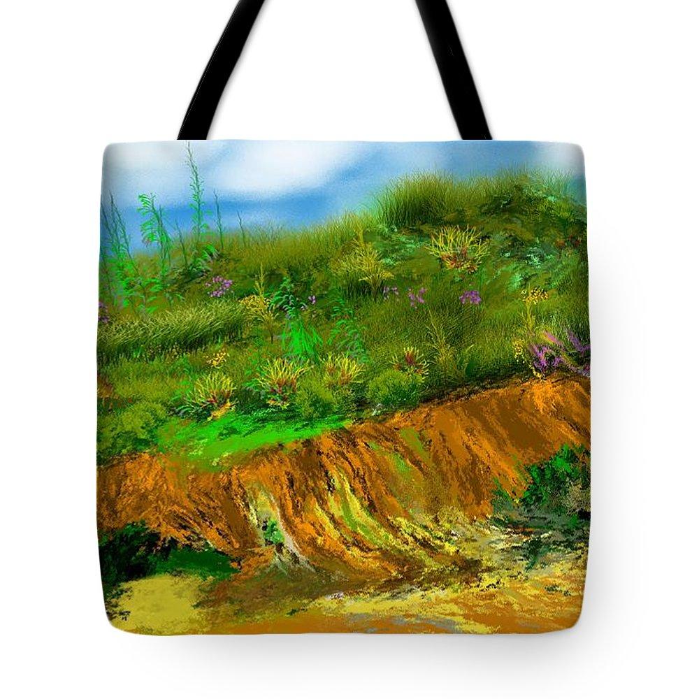 Fine Art Tote Bag featuring the digital art Landscape 012711 by David Lane