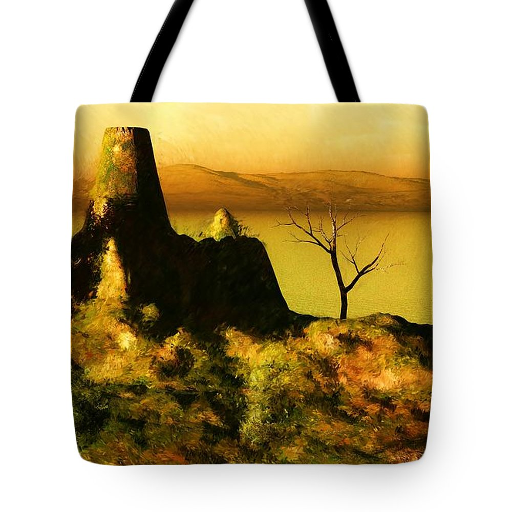 Fine Art Tote Bag featuring the digital art Landscape 111610 by David Lane
