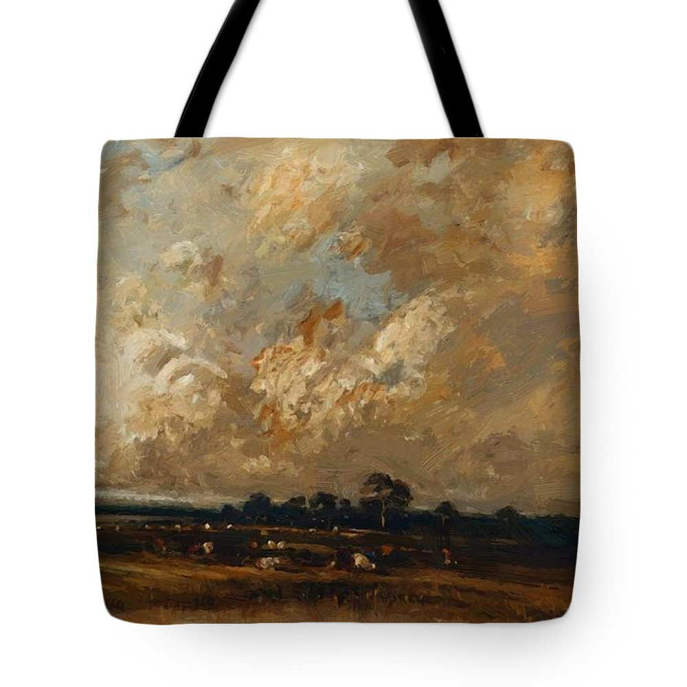 Landscape Tote Bag featuring the painting Landscape 1870 by Dupre Jules