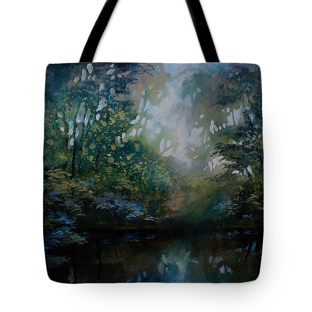 Original Landscape Painting Tote Bag featuring the painting Landscape 2 by Michael Lang