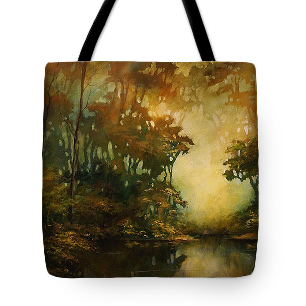 Abstract Art Tote Bag featuring the painting Landscape 3 by Michael Lang