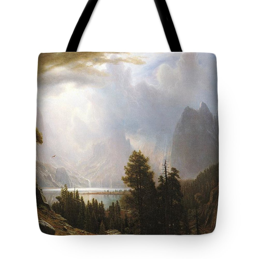 Albert Bierstadt Tote Bag featuring the painting Landscape by Celestial Images