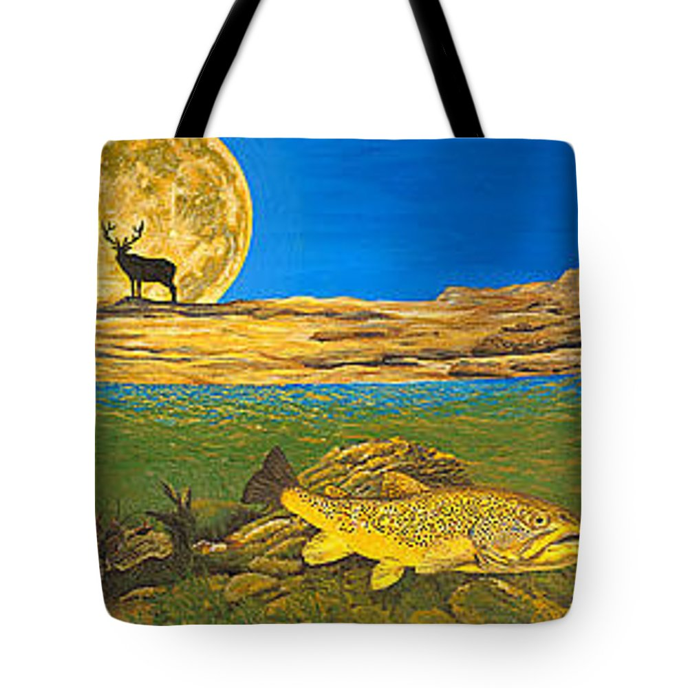 Artwork Tote Bag featuring the painting Landscape Art Fish Art Brown Trout Timing Bull Elk Full Moon Nature Contemporary Modern Decor by Baslee Troutman