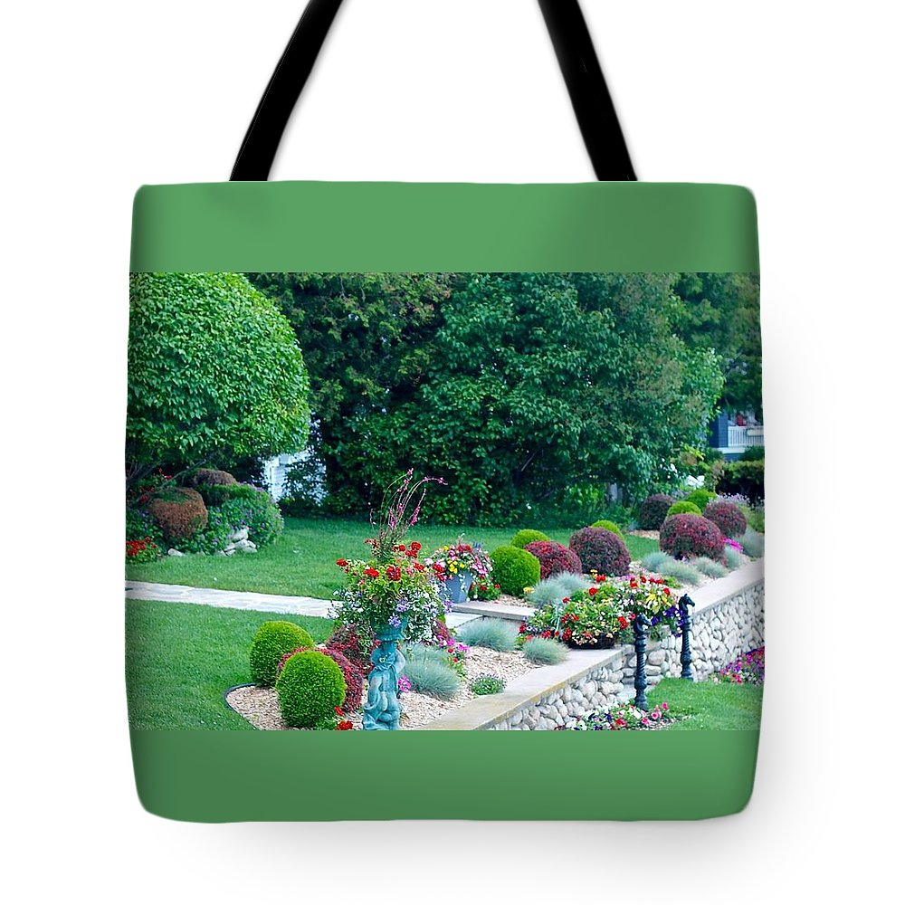 Mackinac Island Tote Bag featuring the photograph Landscape Down The Street by Kendall Tabor