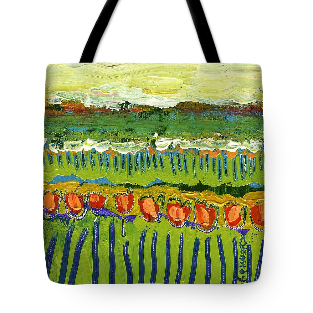 Landscape Tote Bag featuring the painting Landscape in Green and Orange by Jennifer Lommers
