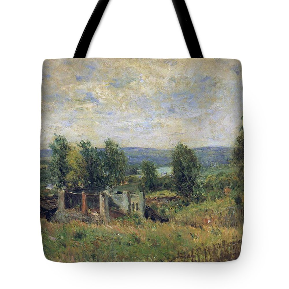 Landscape In Summer Tote Bag featuring the painting Landscape In Summer by MotionAge Designs