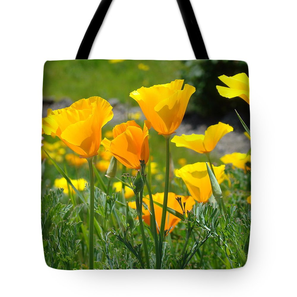 Landscape Poppy Flowers 5 Orange Poppies Hillside Meadow Art Tote