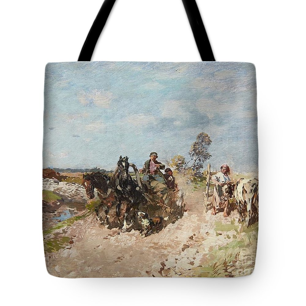 Gregor Von Bochmann Tote Bag featuring the painting Landscape With A Hay Cart by MotionAge Designs