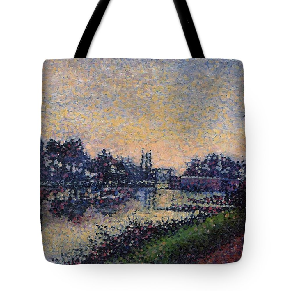 Landscape Tote Bag featuring the painting Landscape With A Lock 1885 by DuboisPillet Albert