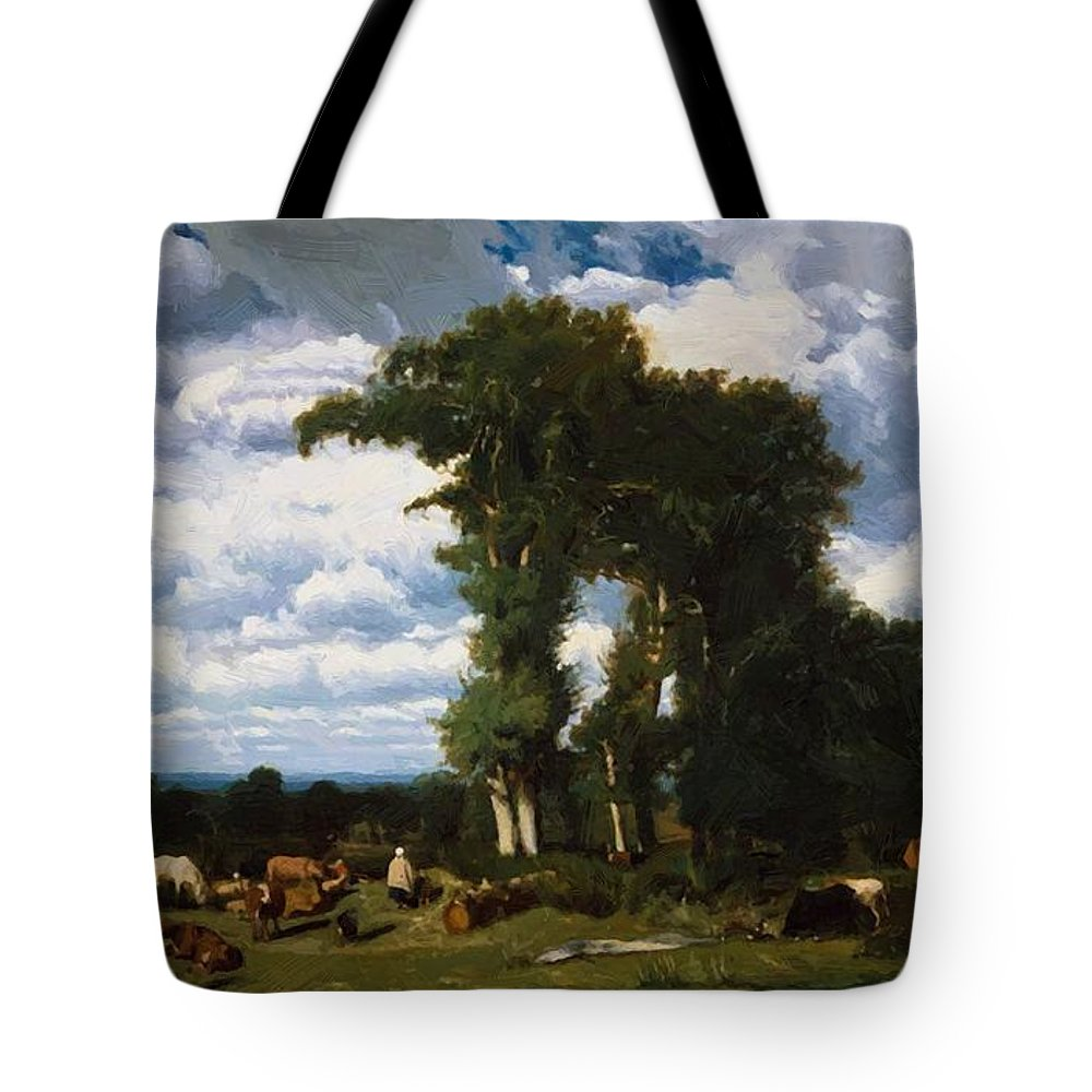 Landscape Tote Bag featuring the painting Landscape With Cattle At Limousin 1837 by Dupre Jules