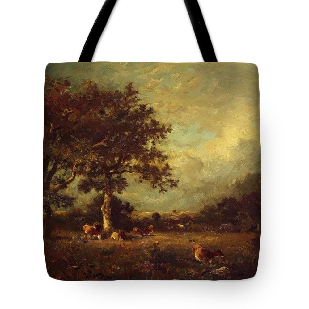 Landscape Tote Bag featuring the painting Landscape With Cows 1870 by Dupre Jules