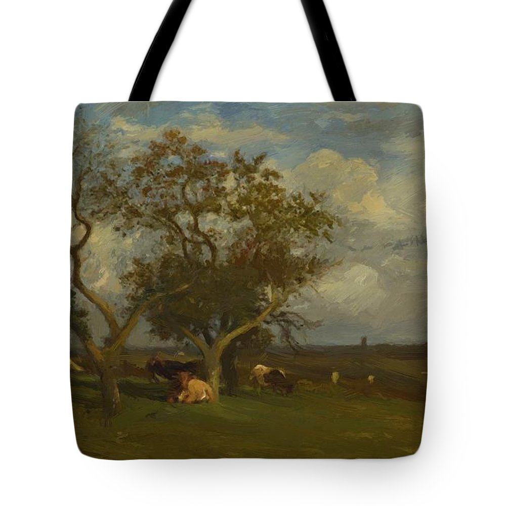 Landscape Tote Bag featuring the painting Landscape With Cows by Dupre Jules