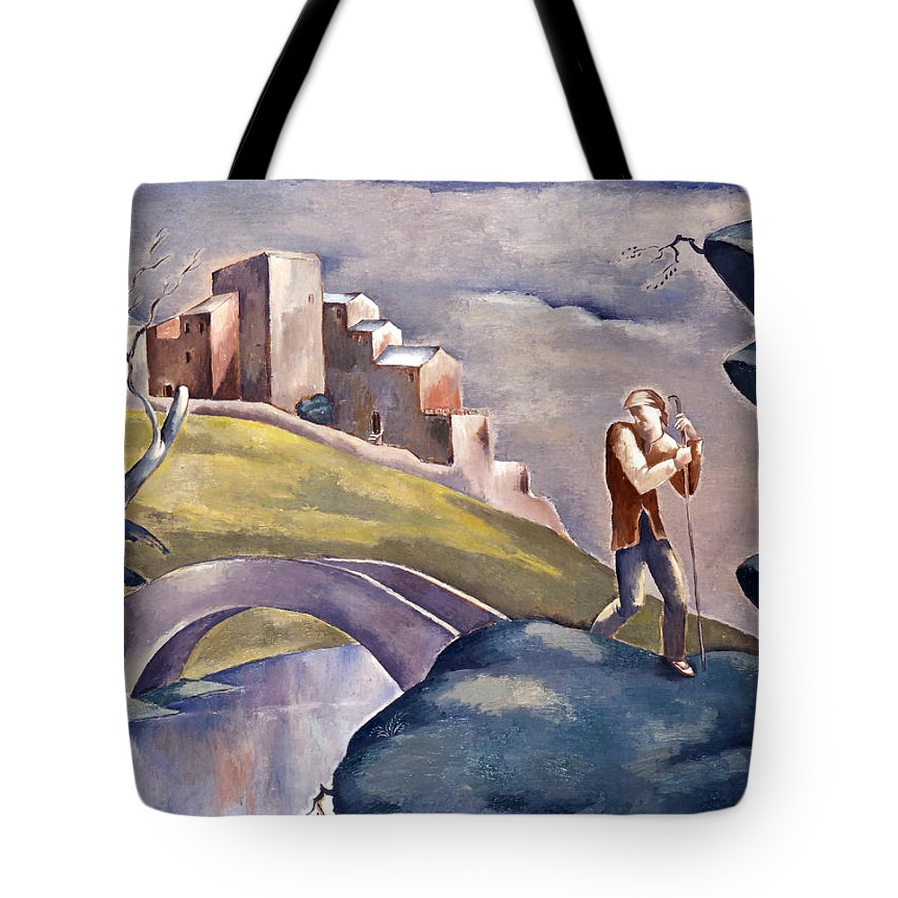 20th century art tote bag featuring the painting landscape with human figure by eugeniusz zak