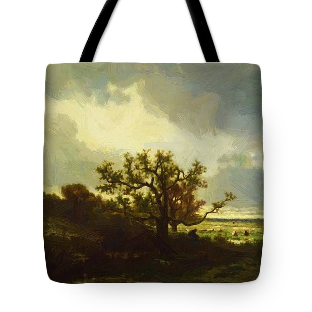 Landscape Tote Bag featuring the painting Landscape With Oaktree by Dupre Jules