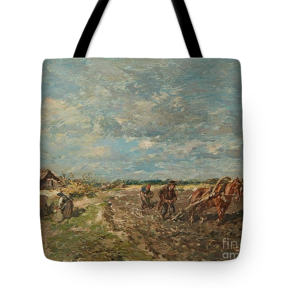 Gregor Von Bochmann Tote Bag featuring the painting Landscape With Ploughmen by MotionAge Designs
