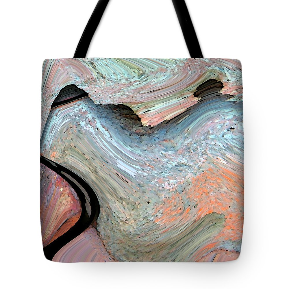 Abstract Tote Bag featuring the digital art Landscape With Tree by Lenore Senior