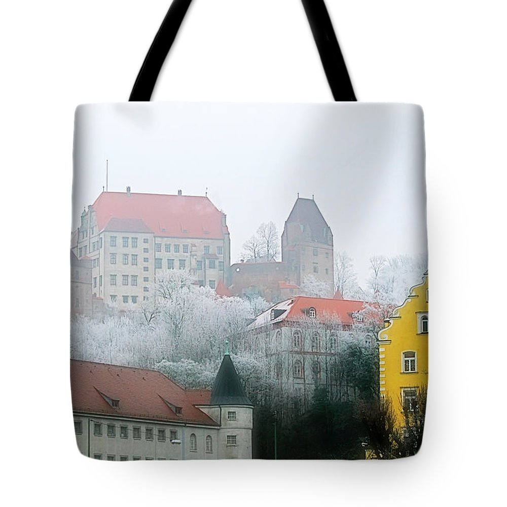 City Tote Bag featuring the photograph Landshut Bavaria On A Foggy Day by Christine Till