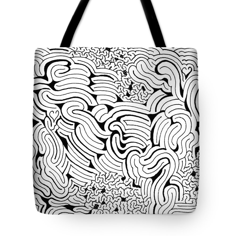 Mazes Tote Bag featuring the drawing Languid by Steven Natanson
