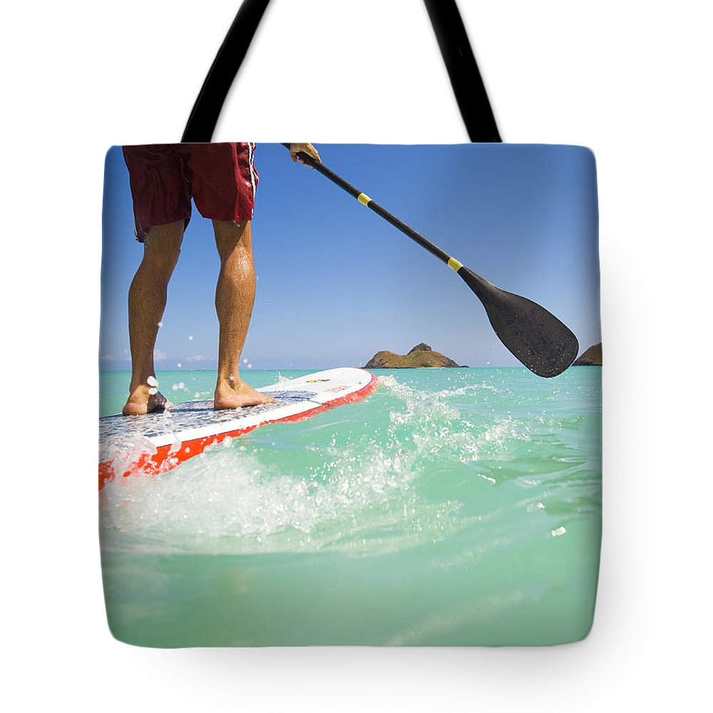 Adrenaline Tote Bag featuring the photograph Lanikai Stand Up Paddling by Dana Edmunds - Printscapes