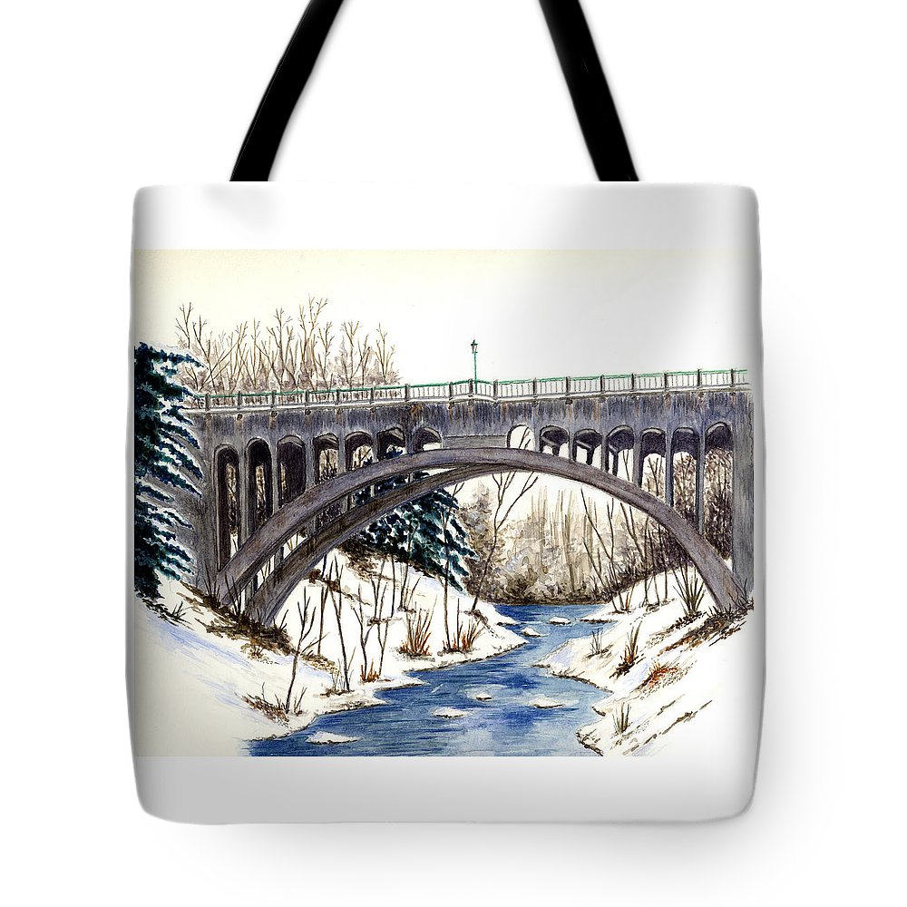 Bridge Tote Bag featuring the painting Lanterman Falls Bridge - Mill Creek Park by Michael Vigliotti