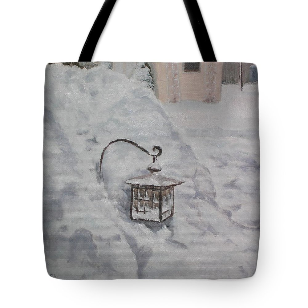 Snow Tote Bag featuring the painting Lantern In The Snow by Lea Novak