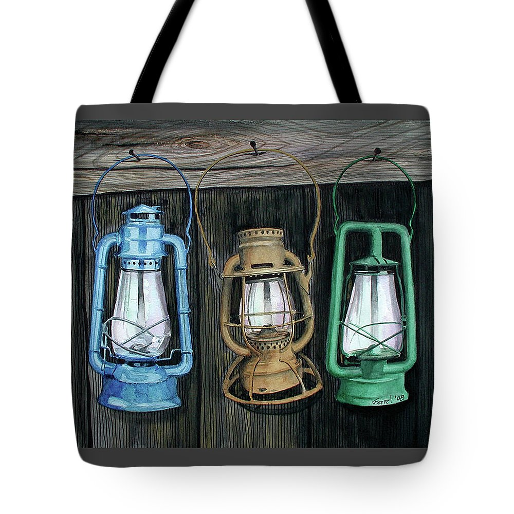 Lanterns Tote Bag featuring the painting Lanterns by Ferrel Cordle