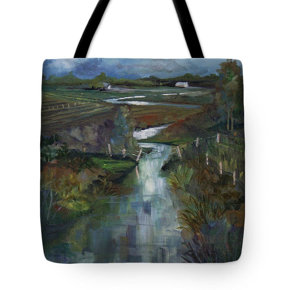 River Tote Bag featuring the painting Laramie River Valley by Heather Coen