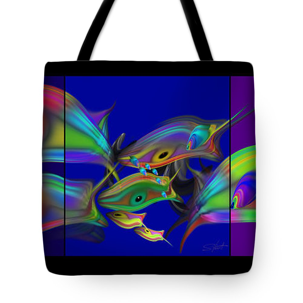 Blue Tote Bag featuring the painting Large Blue Edo Screen by Charles Stuart