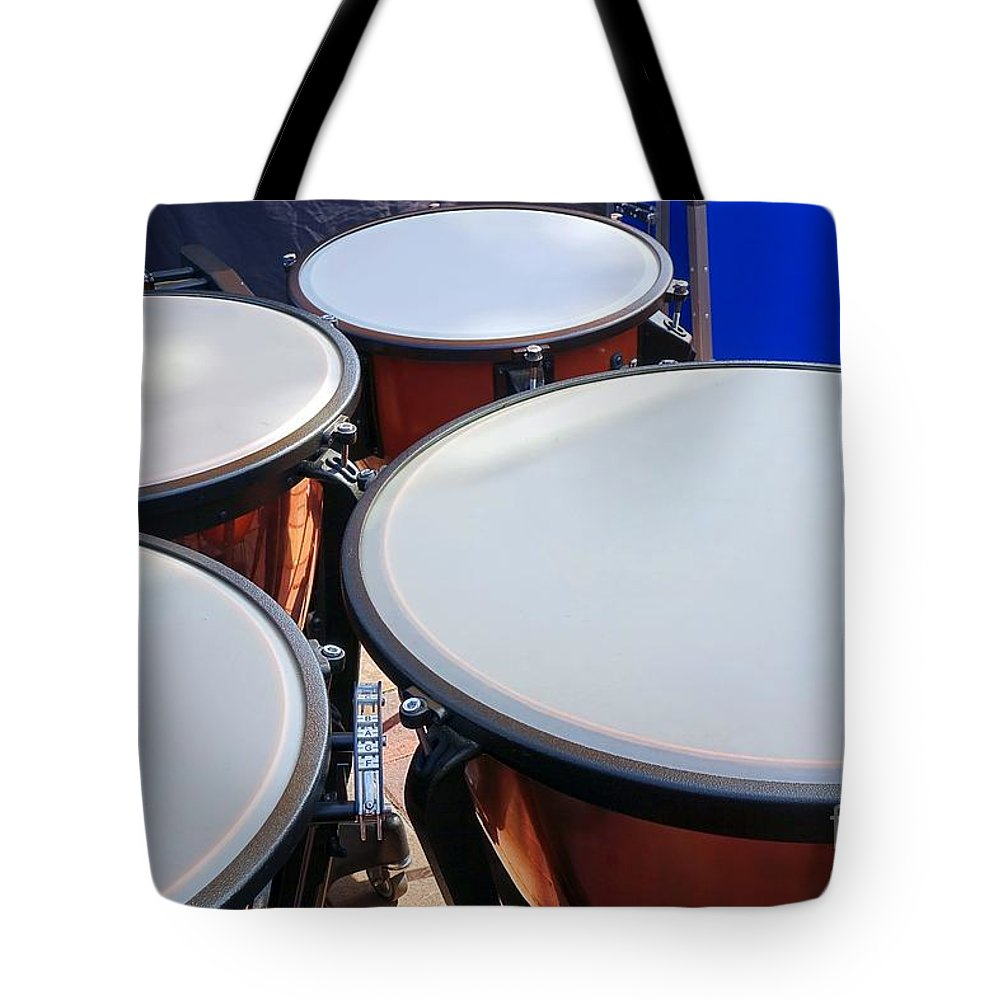 Timpani Tote Bag featuring the photograph Large Copper Kettledrums by Yali Shi