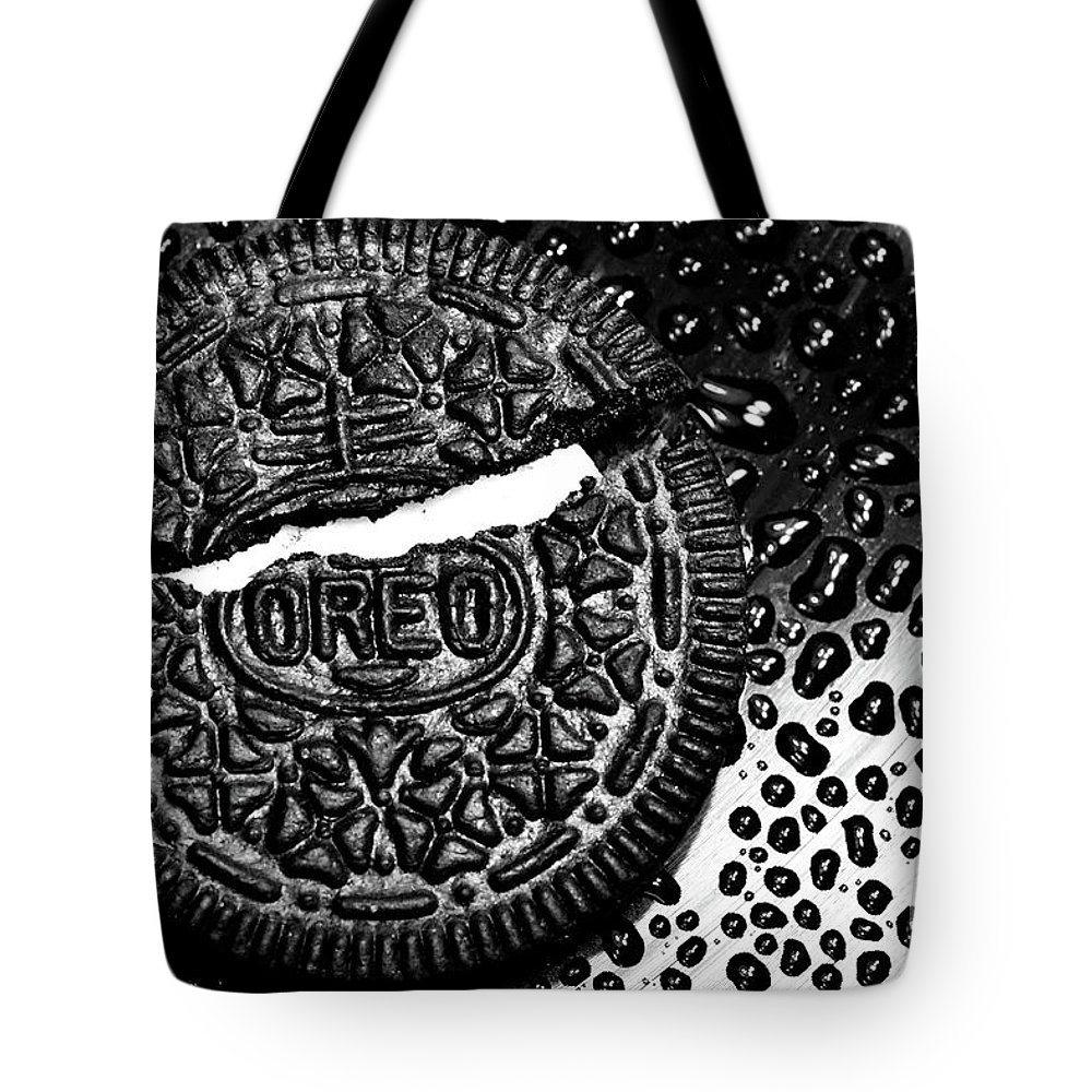 Cookie Tote Bag featuring the photograph Large Oreo Black And White by Nancy Mueller