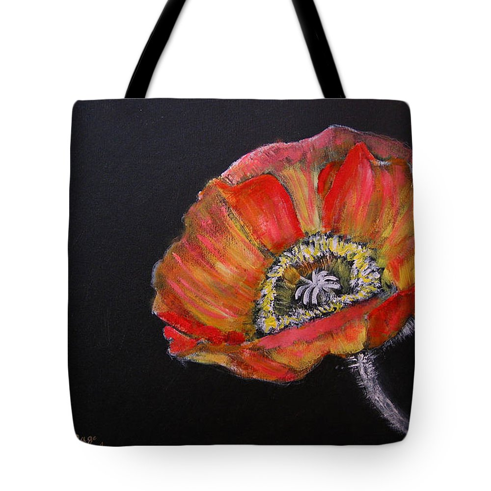 Poppy Tote Bag featuring the painting Large Poppy by Richard Le Page
