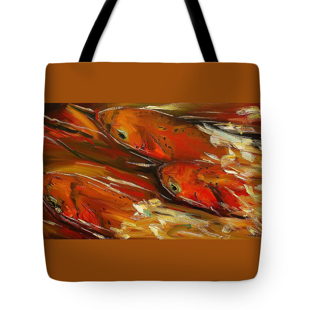 Trout Tote Bag featuring the painting Large Trout Stream Fly Fish by Diane Whitehead