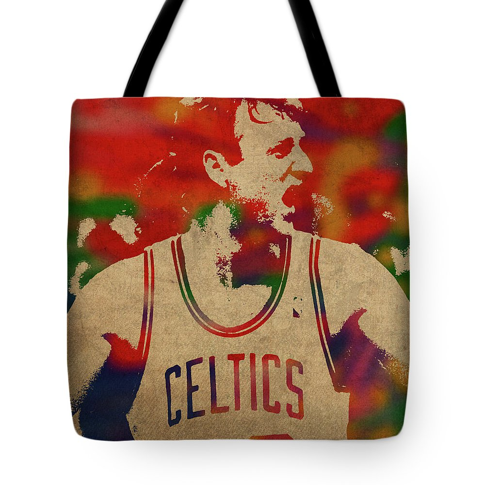Larry Bird Tote Bag featuring the mixed media Larry Bird Watercolor Portrait by Design Turnpike