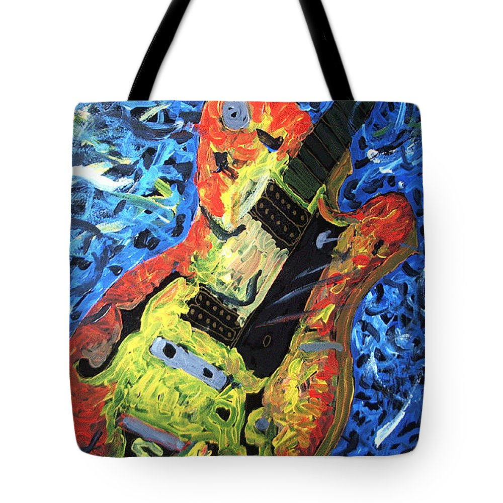 Larry Carlton Tote Bag featuring the painting Larry Carlton Guitar by Neal Barbosa