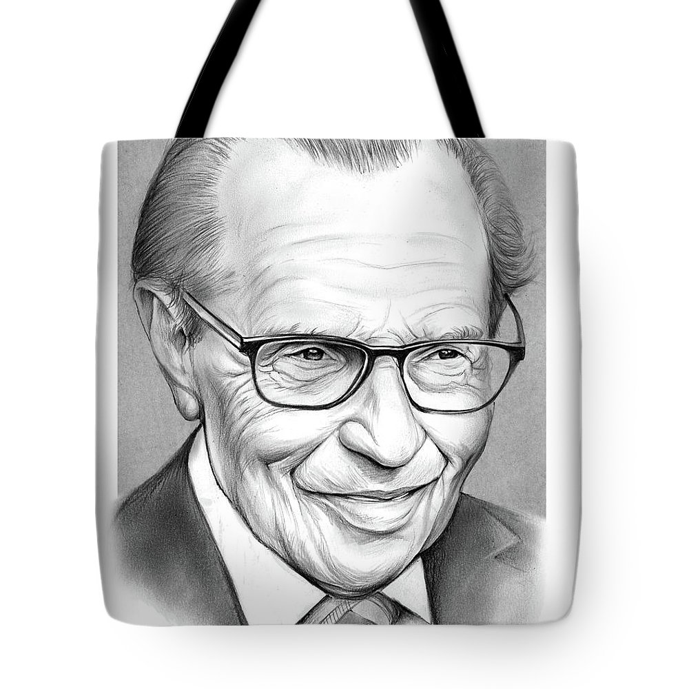 Larry King Tote Bag featuring the drawing Larry King by Greg Joens