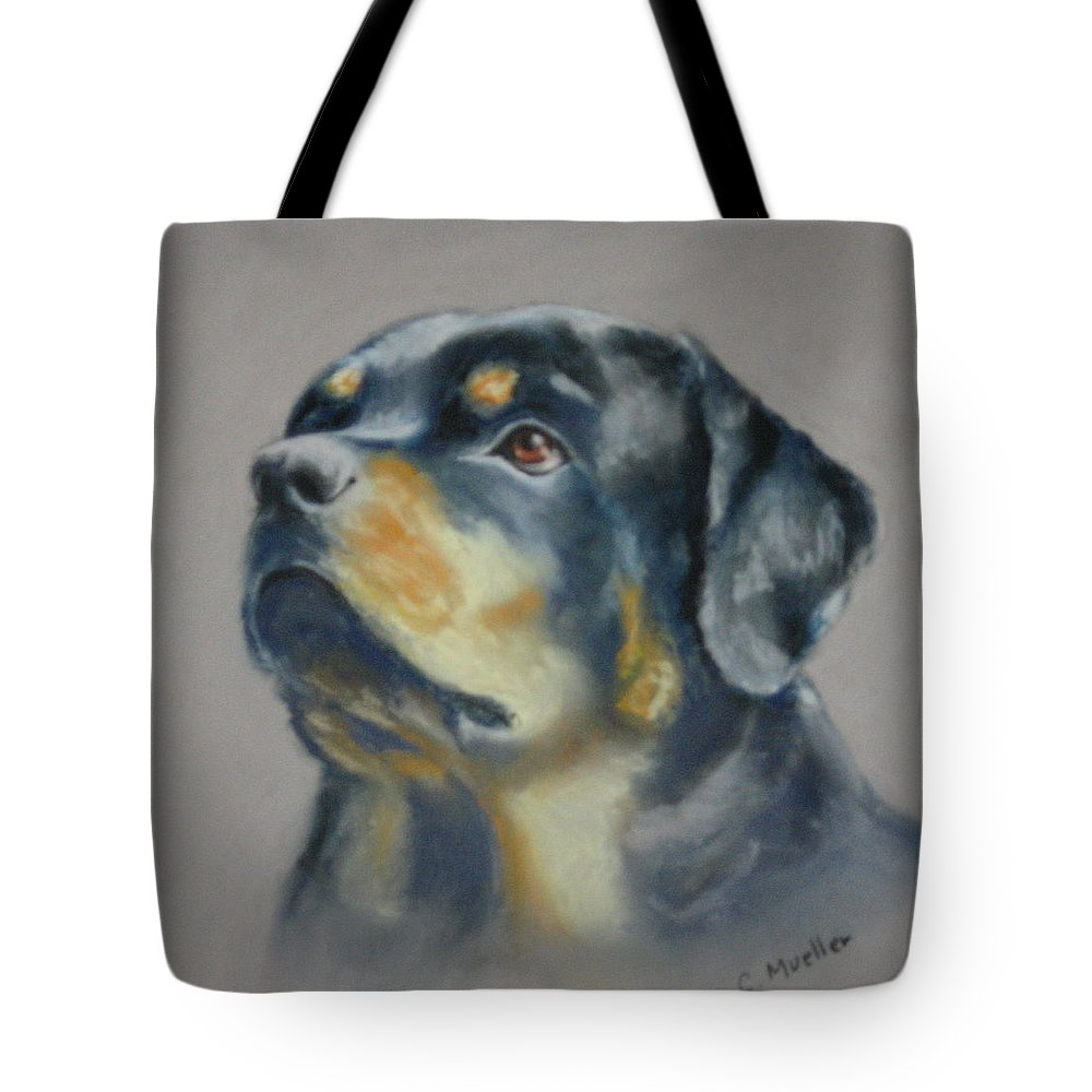 Dog Tote Bag featuring the painting Lars by Carol Mueller