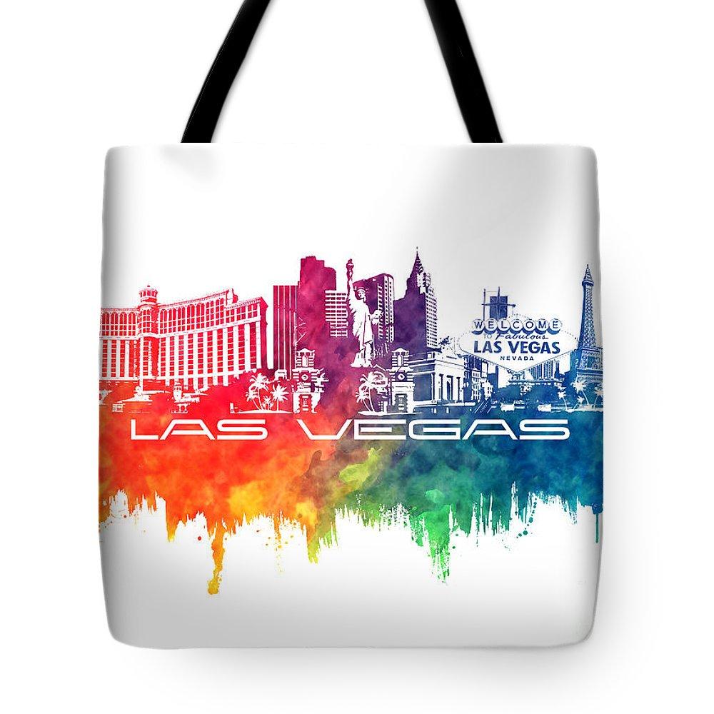 Las Vegas Tote Bag featuring the digital art Las Vegas Skyline City Color by Justyna JBJart