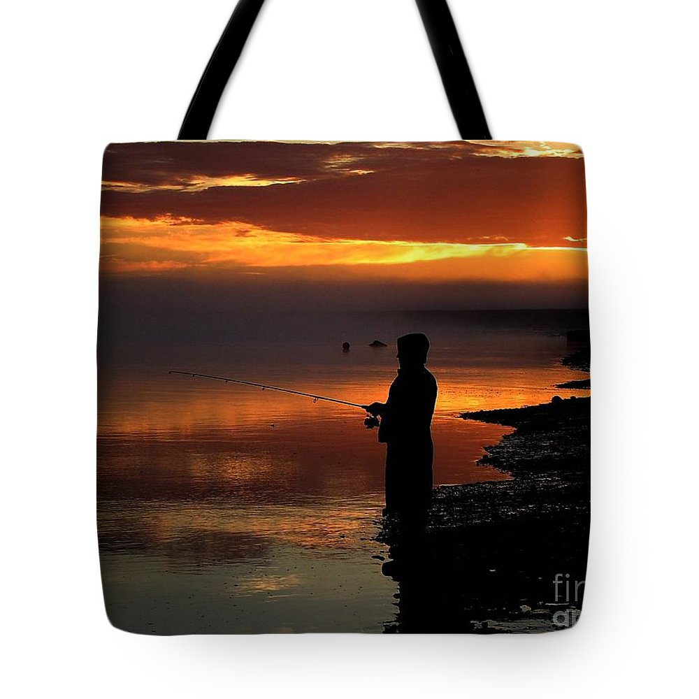 Sunset Tote Bag featuring the photograph Last Cast by Rick Monyahan