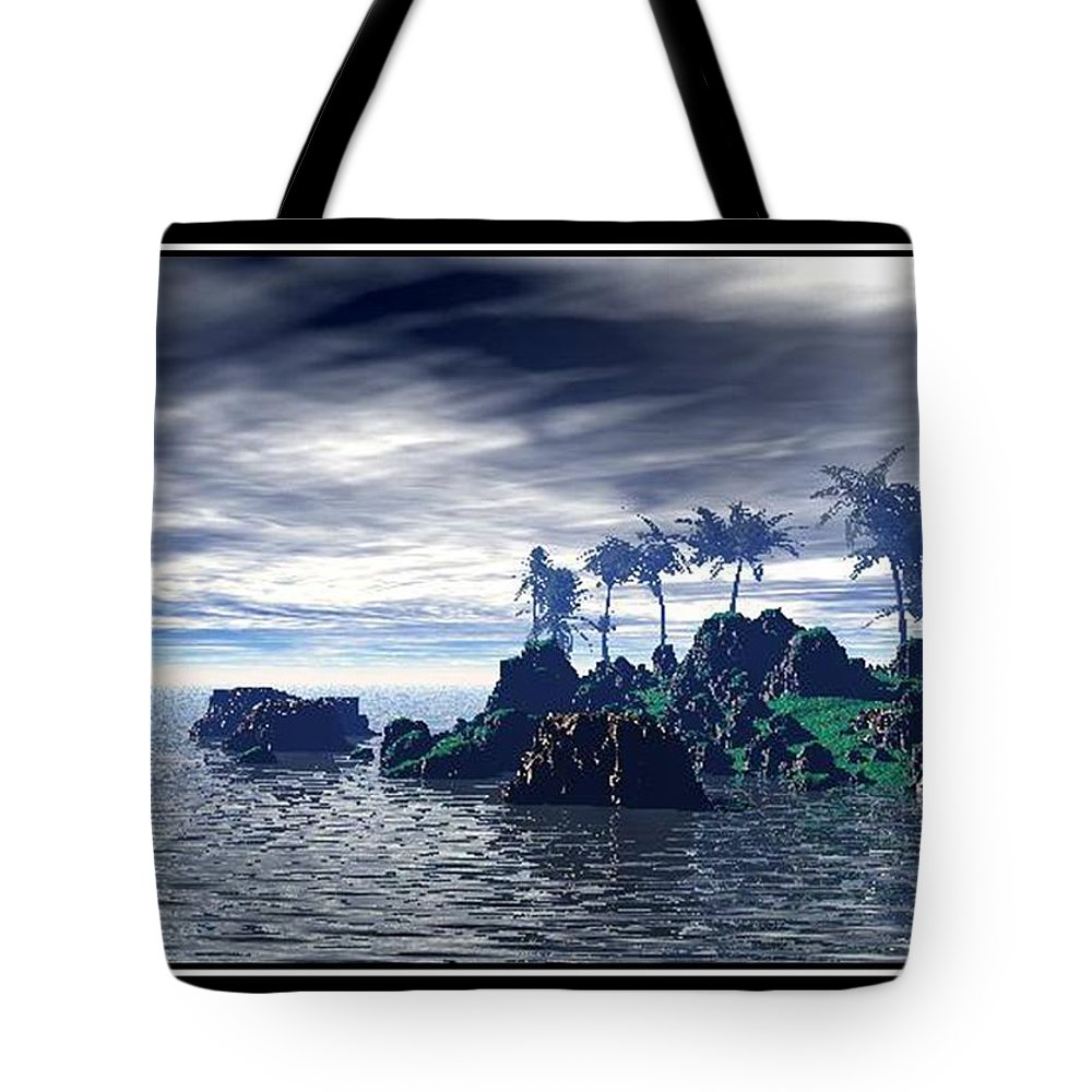 Landscape Palm Trees Sea Water Holiday Landscape Photo Canvas Art Clouds Sky Best William Ballester Last Day Of Holidays Tote Bag featuring the digital art Last Day Of Holidays by William Ballester