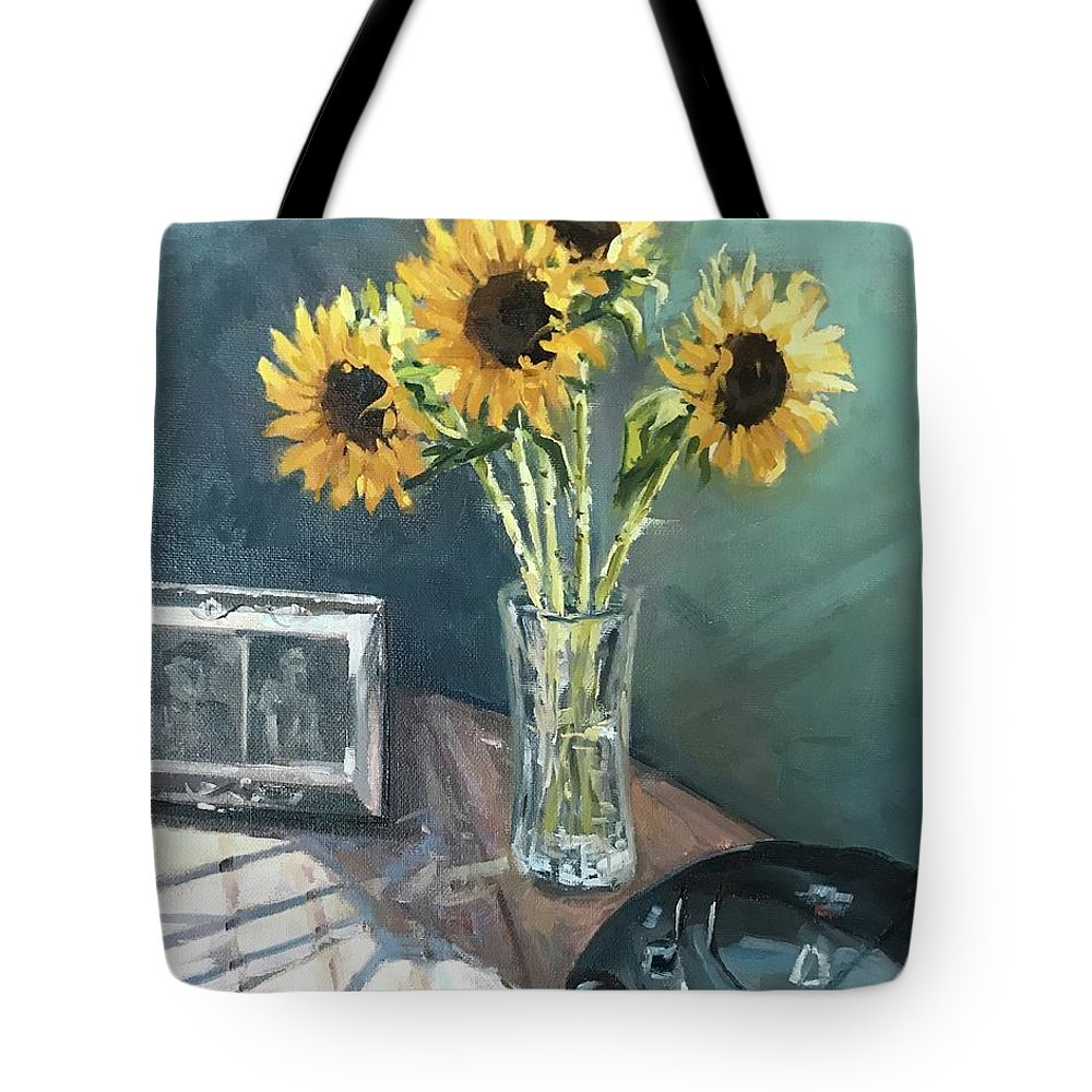 Sunflowers Tote Bag featuring the painting Last Days by Vlad Duchev