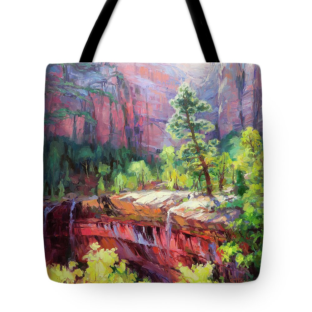 Zion Tote Bag featuring the painting Last Light in Zion by Steve Henderson