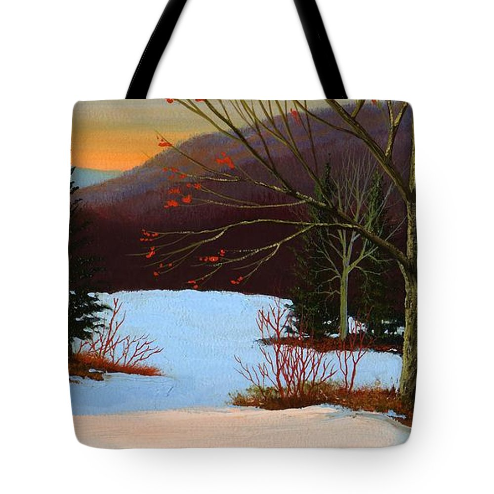 Winter Tote Bag featuring the painting Last Light Of Day by Frank Wilson