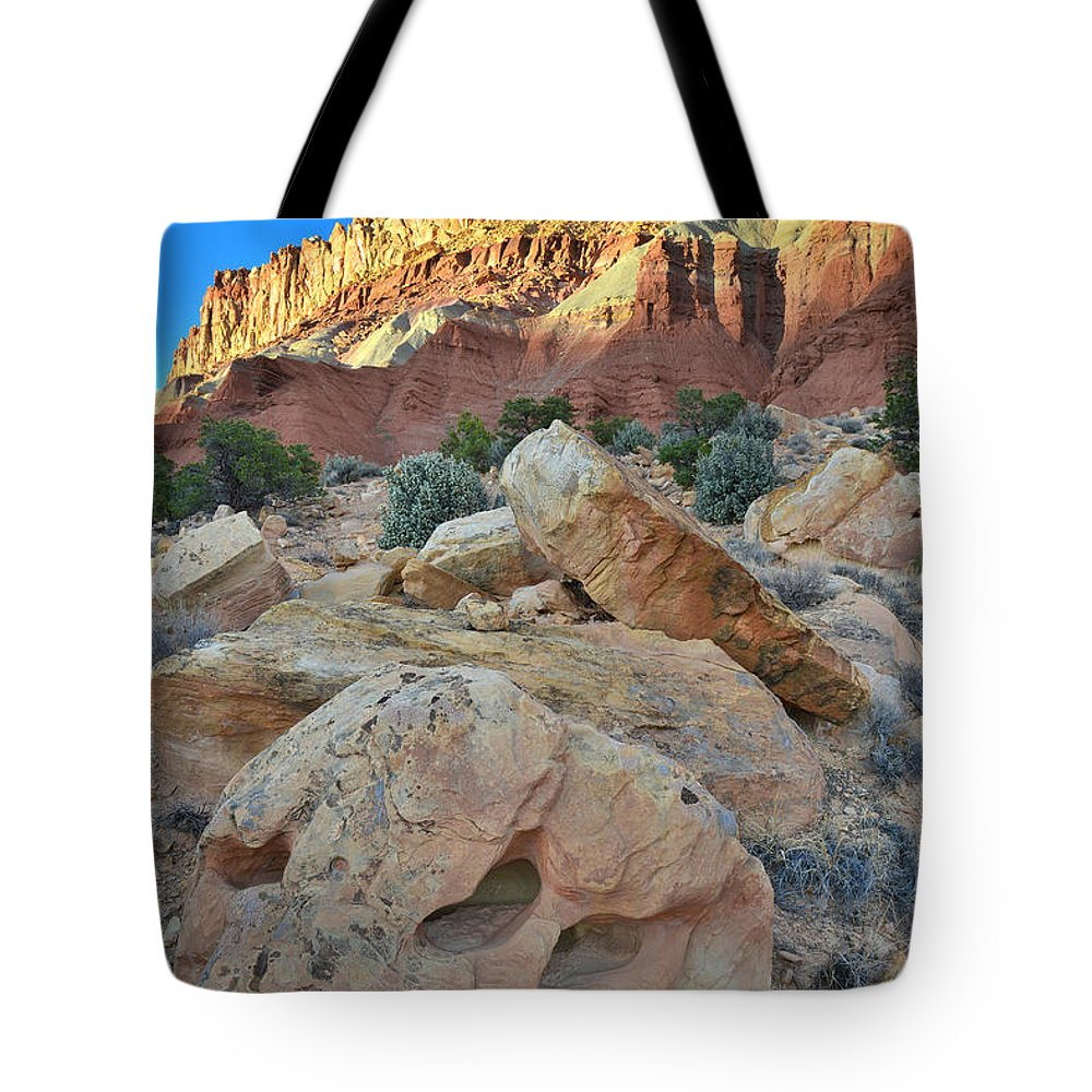 Capitol Reef National Park Tote Bag featuring the photograph Last Light On Capitol Reef by Ray Mathis