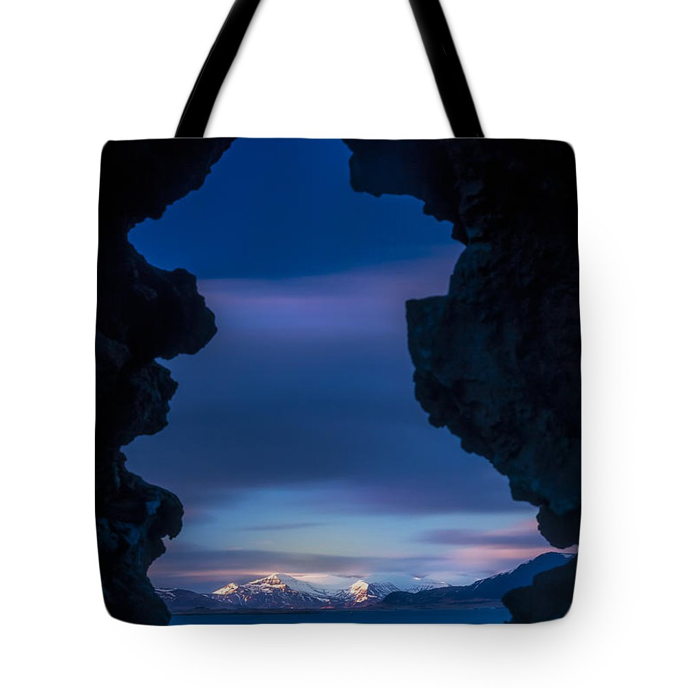 Blue Tote Bag featuring the photograph Last Light Through Lava by Glen Sumner