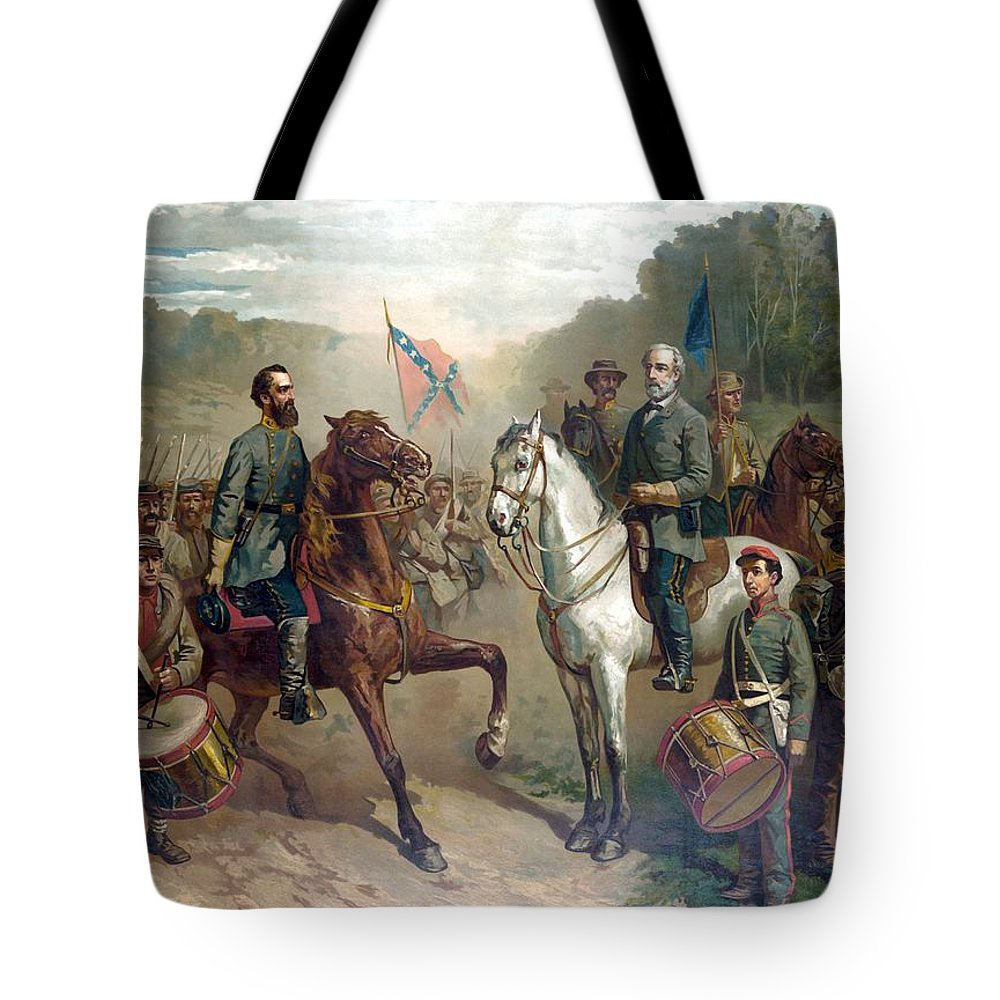 Robert E Lee Tote Bag featuring the painting Last Meeting Of Lee And Jackson by War Is Hell Store