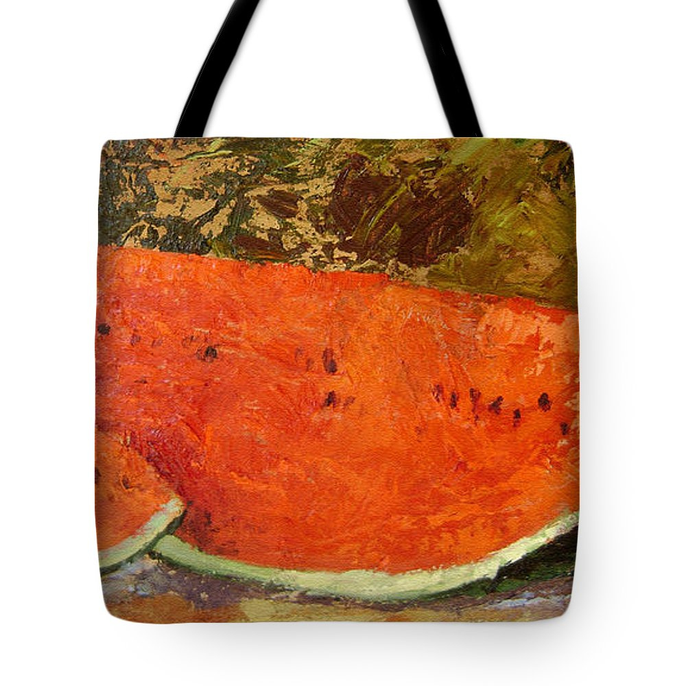 Watermelon Tote Bag featuring the painting Last Of Summer by Ginger Concepcion