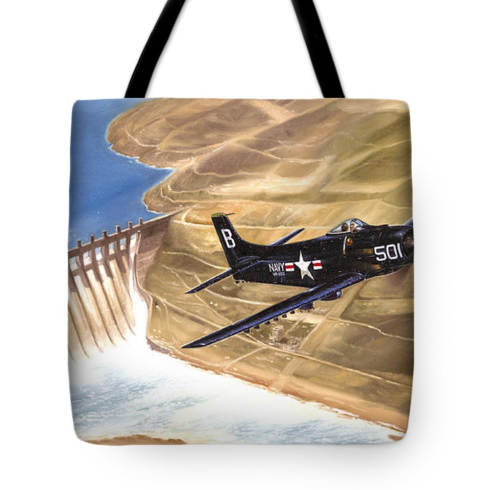 Military Tote Bag featuring the painting Last Of The Dambusters by Marc Stewart