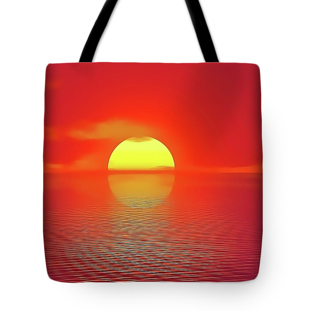 Sunset Tote Bag featuring the painting Last Sunset by Harry Warrick