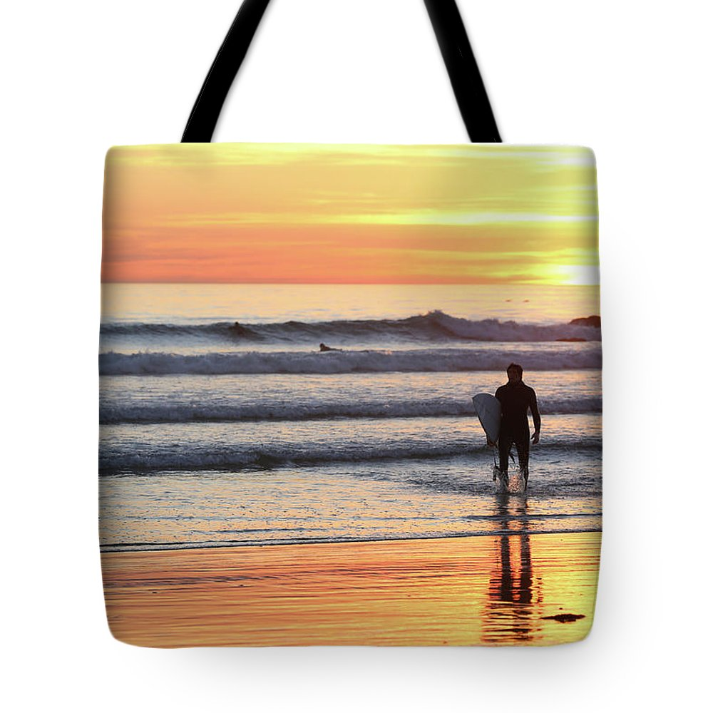 Sunset Tote Bag featuring the photograph Last Wave Of The Day by George Hobbs